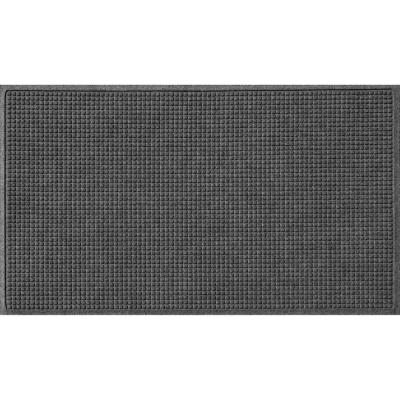 Squares 35 in. x 59 in. PET Polyester Doormat Charcoal