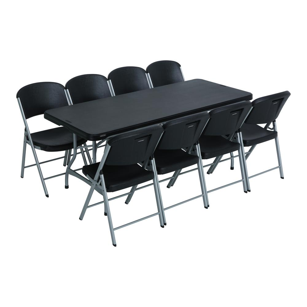 Lifetime 9-Piece Black Stackable Folding Table Set