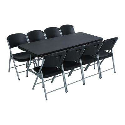 9-Piece Black Stackable Folding Table Set