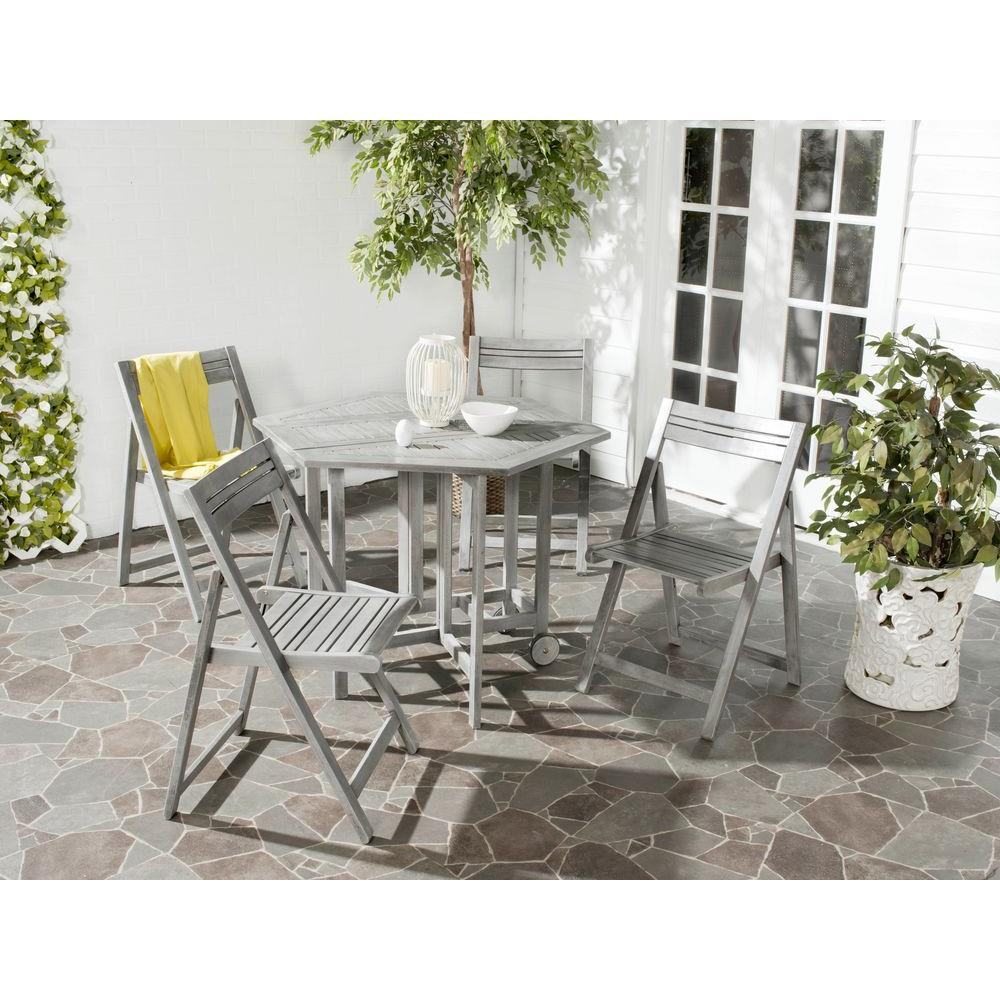 Safavieh Kerman Gray Wash 5 Piece Patio Dining Set