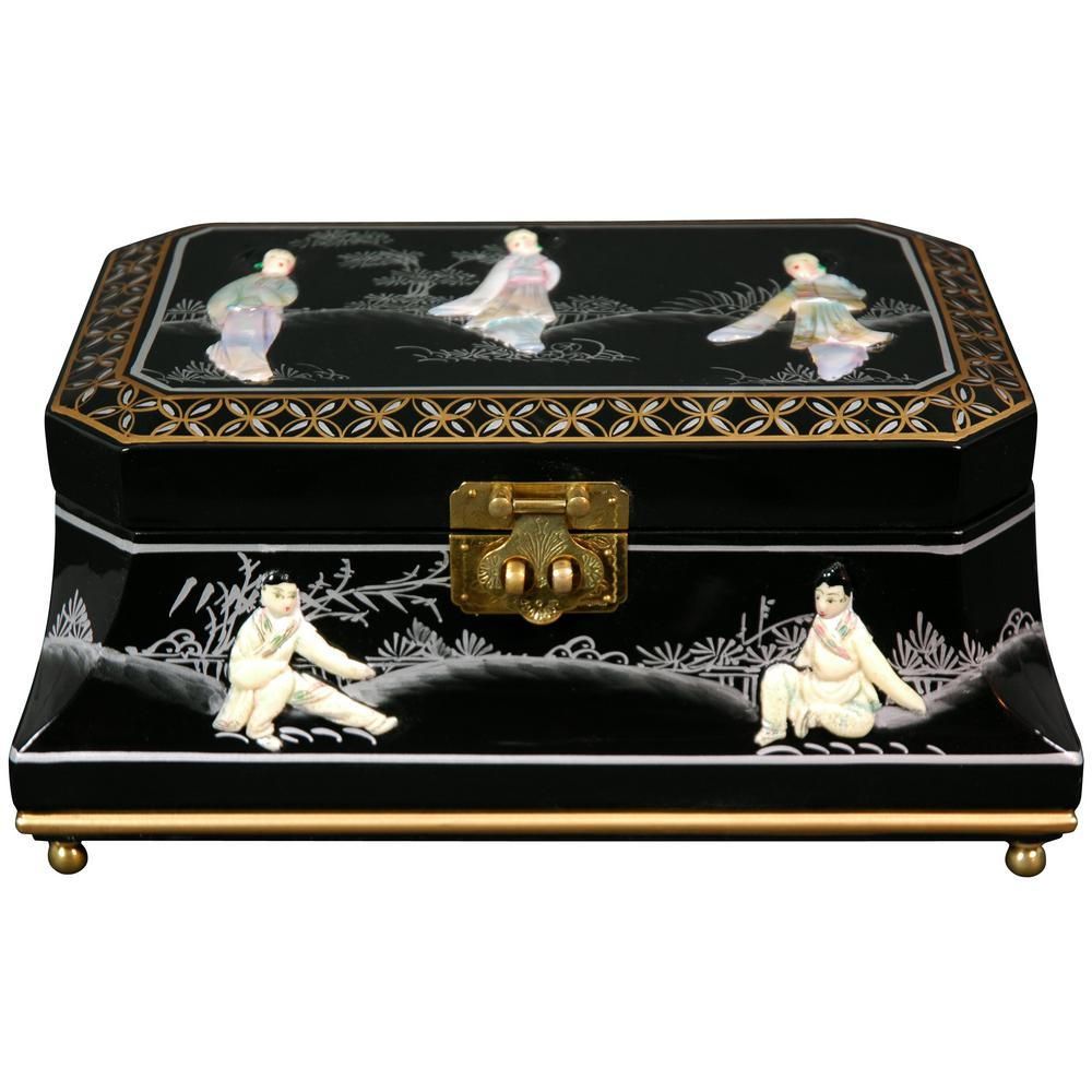 Oriental Furniture Adorlee Lacquer Jewelry Box in Black