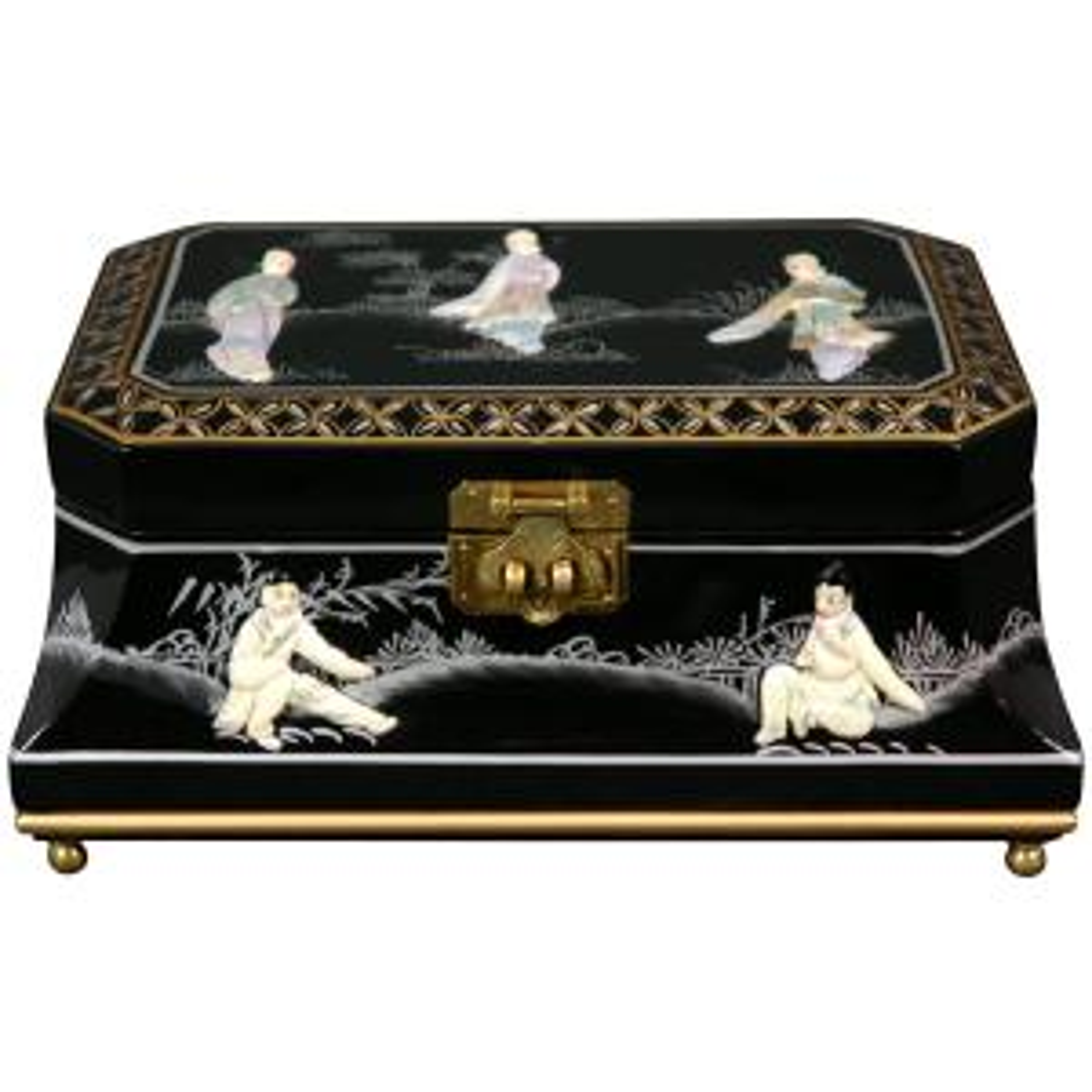 Oriental Furniture Adorlee Lacquer Jewelry Box in Black