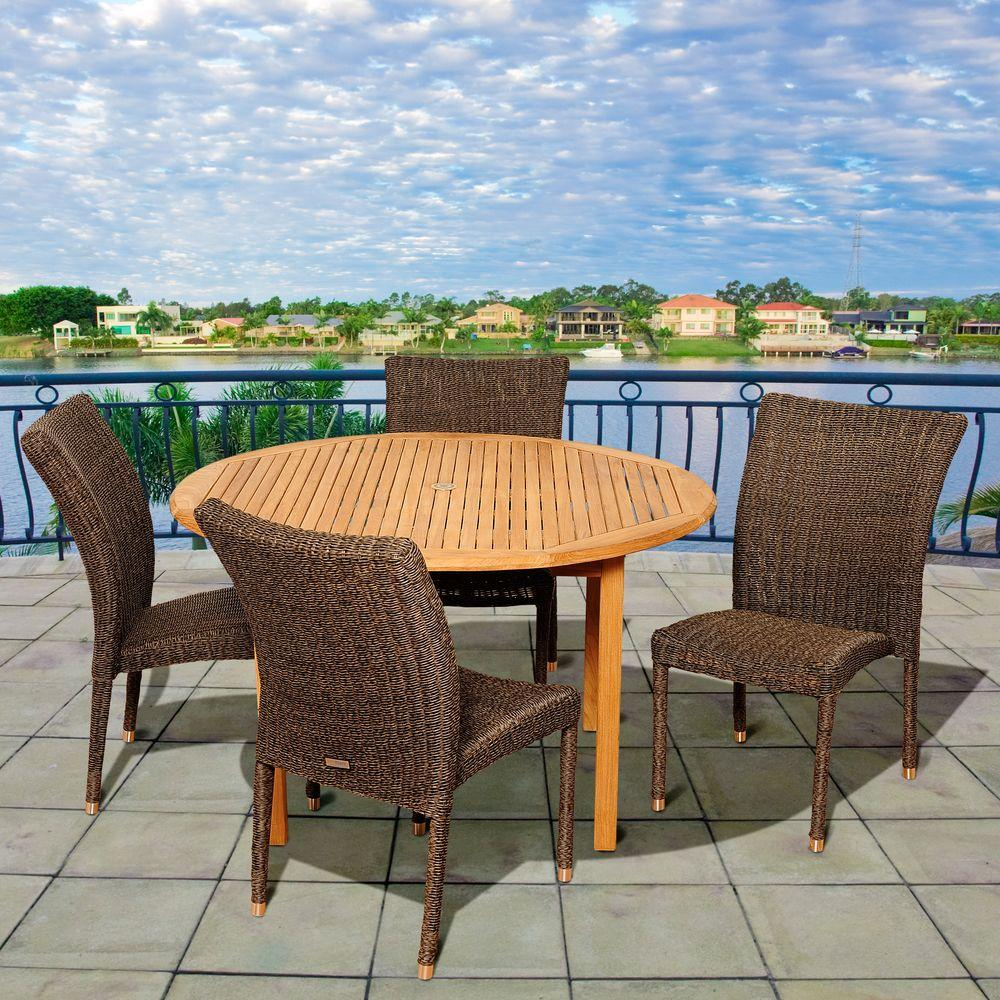 Amazonia struch 5 piece teak round patio dining set sc malrnd 4bari the home depot Home depot teak patio furniture