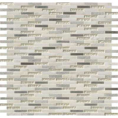 Ocean Crest Brick 12 in. x 12 in. x 8 mm Glass Metal Stone Mesh-Mounted Mosaic Wall Tile (10 sq. ft. / case)