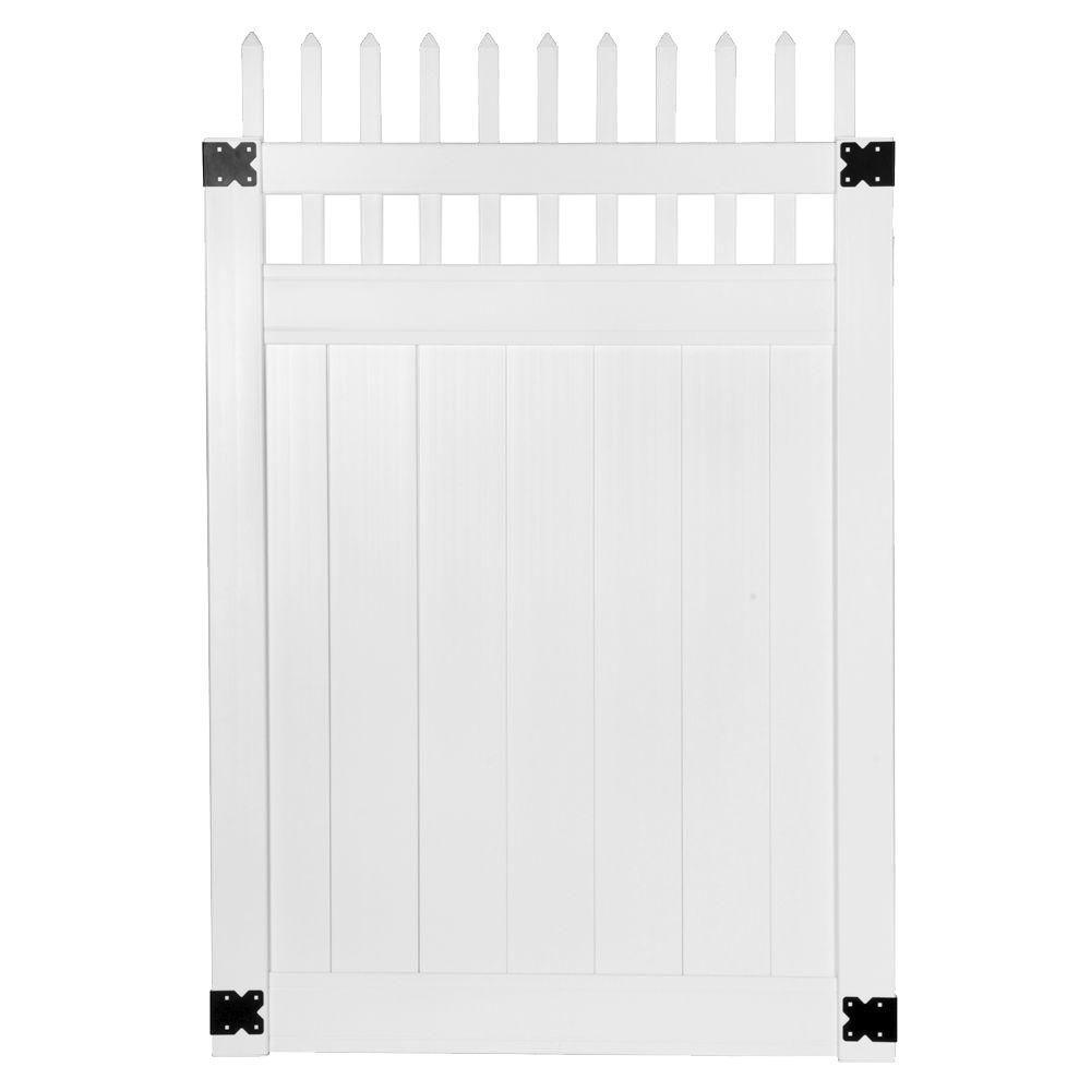 Pro Series 4 ft. W x 6 ft. H White Vinyl Woodbridge Picket Top Privacy Fence Gate