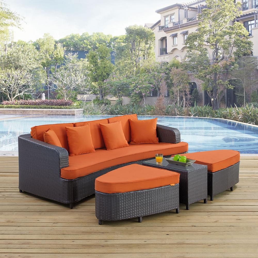 Monterey 4-Piece Wicker Patio Conversation Set in Brown with Orange Cushions