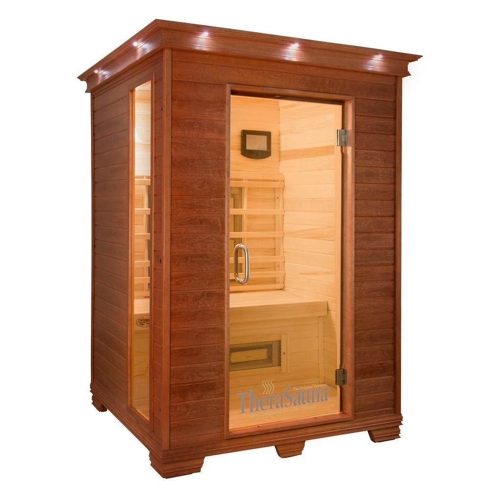 TheraSauna 2-Person Plus Infrared Health Sauna with MPS Touchview Control, Aspen Wood and 10 TheraMitter Heaters
