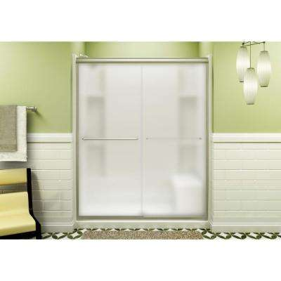 Finesse 59-5/8 in. x 70-1/16 in. Semi-Frameless Sliding Shower Door in Frosted Nickel with Handle