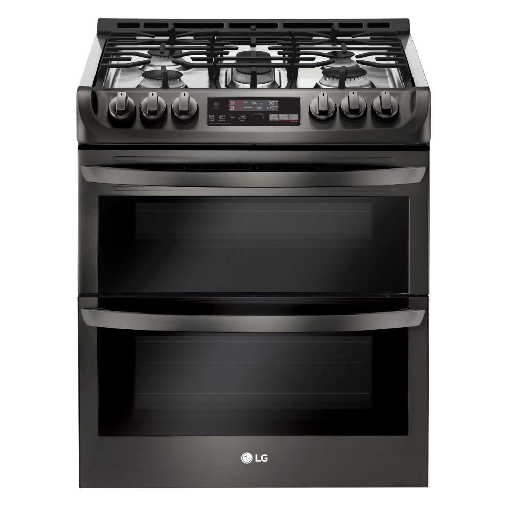 LG Electronics 6.9 cu. ft. Smart Double Oven Slide In Gas Range with ProBake Convection and Wi-Fi in Black Stainless Steel was $2999.0 now $1798.2 (40.0% off)
