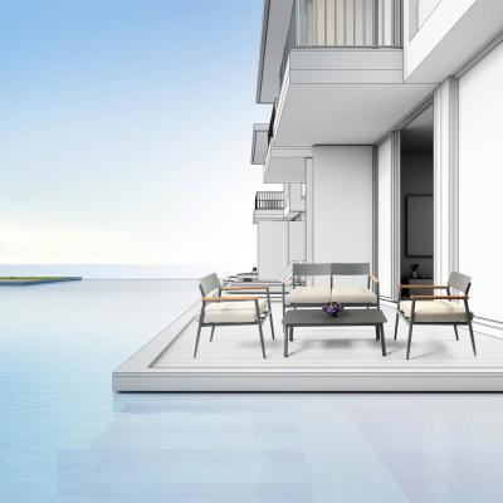 SUNNYCREST Haven 4-Piece Dark Grey Aluminum Frame with Brown Armrests Outdoor Conversation Set with Beige Cushions