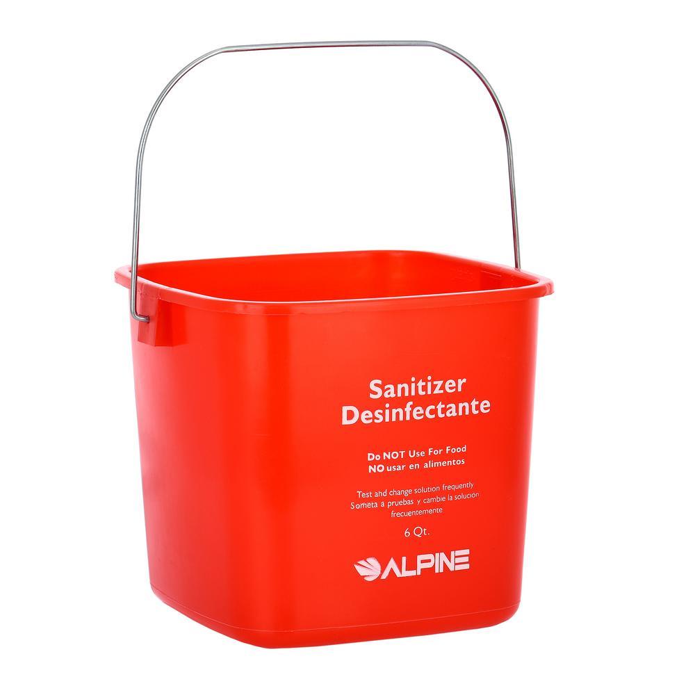 Alpine Industries 6 Qt. Red Plastic Cleaning Bucket Pail