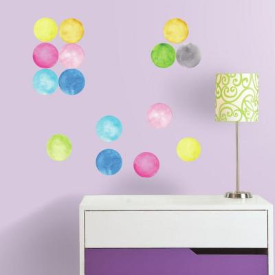 5 in. x 11.5 in. Watercolor Dots Peel and Stick Wall Decal
