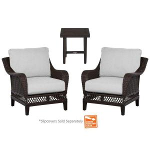 Woodbury 3 Piece Patio Chat Set With Cushion Insert (Slipcovers Sold  Separately) · Hampton Bay ...