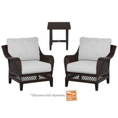 Woodbury 3-Piece Wicker Outdoor Patio Chat Set with Cushions Included, Choose Your Own Color