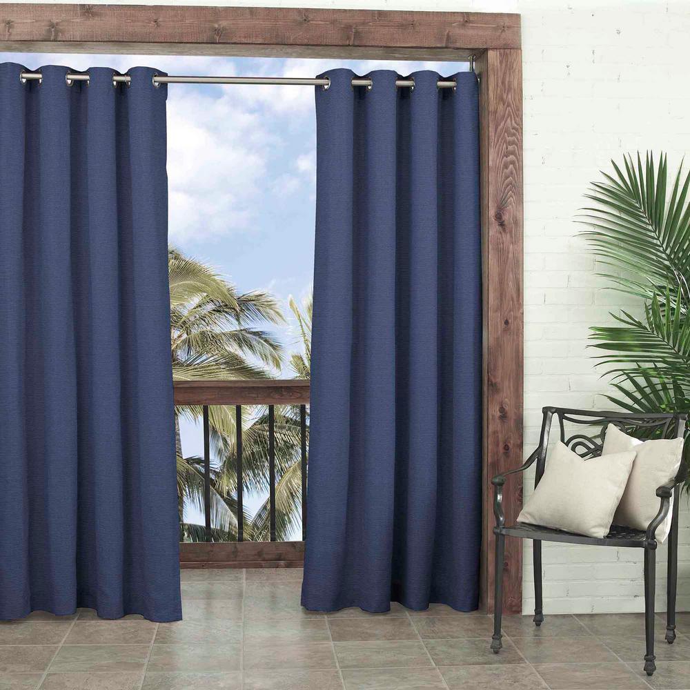 52 in. W x 108 in. L Key Largo Solid Room Darkening Olefin Window Curtain Panel in Indigo