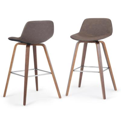 Randolph 36.6 in. Distressed Chocolate Brown Faux Leather Mid Century Modern Bentwood Counter Height Stool (Set of 2)
