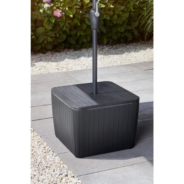 Keter Patio Umbrella Base Table In Brown 246083 The Home Depot