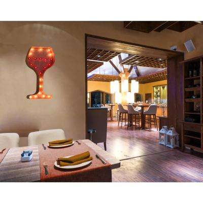 Indoor and Outdoor Rusted Steel Wine Glass Plug-in Marquee Light