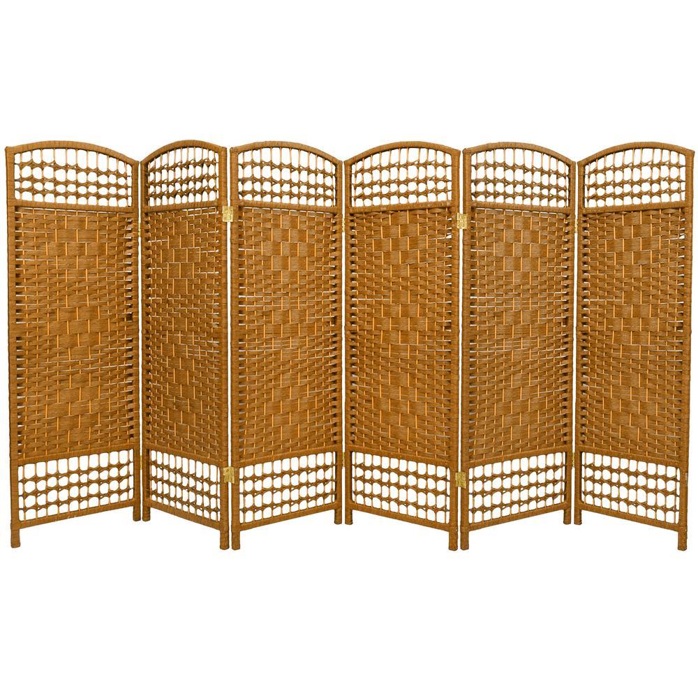 4 ft. Light Beige 6-Panel Room Divider