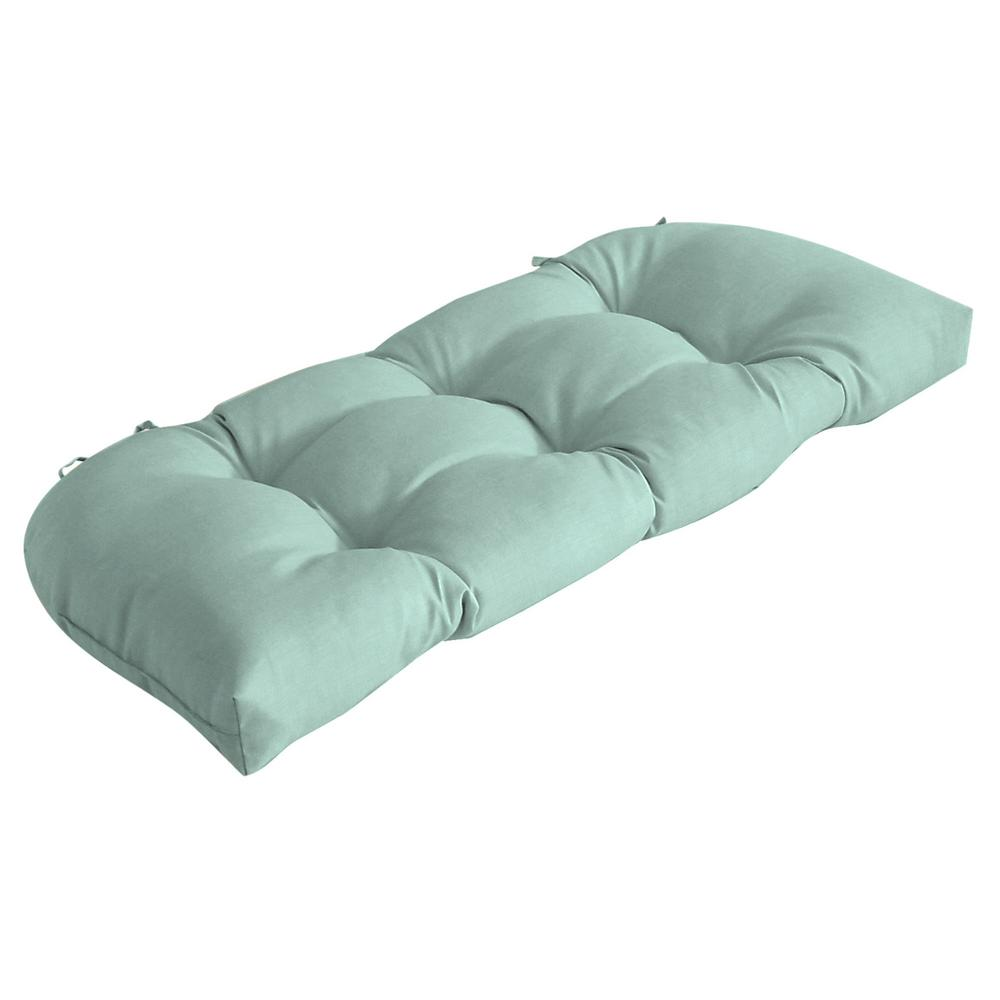 Arden Selections 41.5 in. x 18 in. Aqua Leala Texture Countoured Tufted Outdoor Bench Cushion