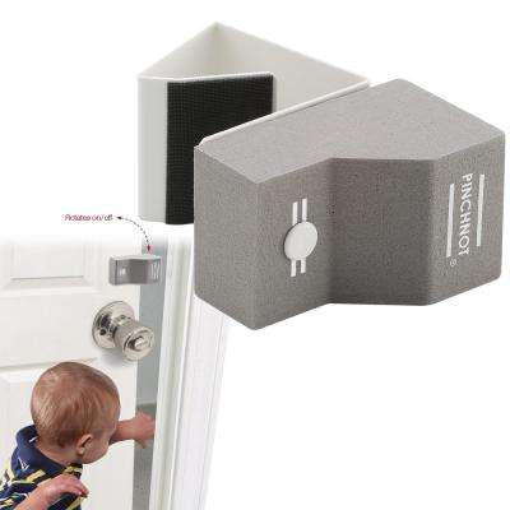 Door Finger Safety Guard Slip-on Foam Bumper Stop. Flips On/Off. By PinchNot (4-Pack)