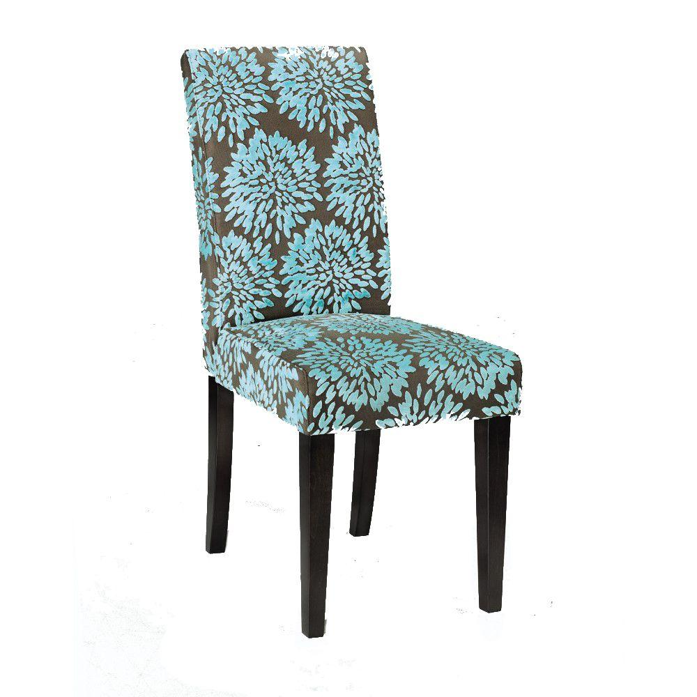 Home Decorators Collection Parsons Aqua 17.5 in. W Textured Velvet Side Chair