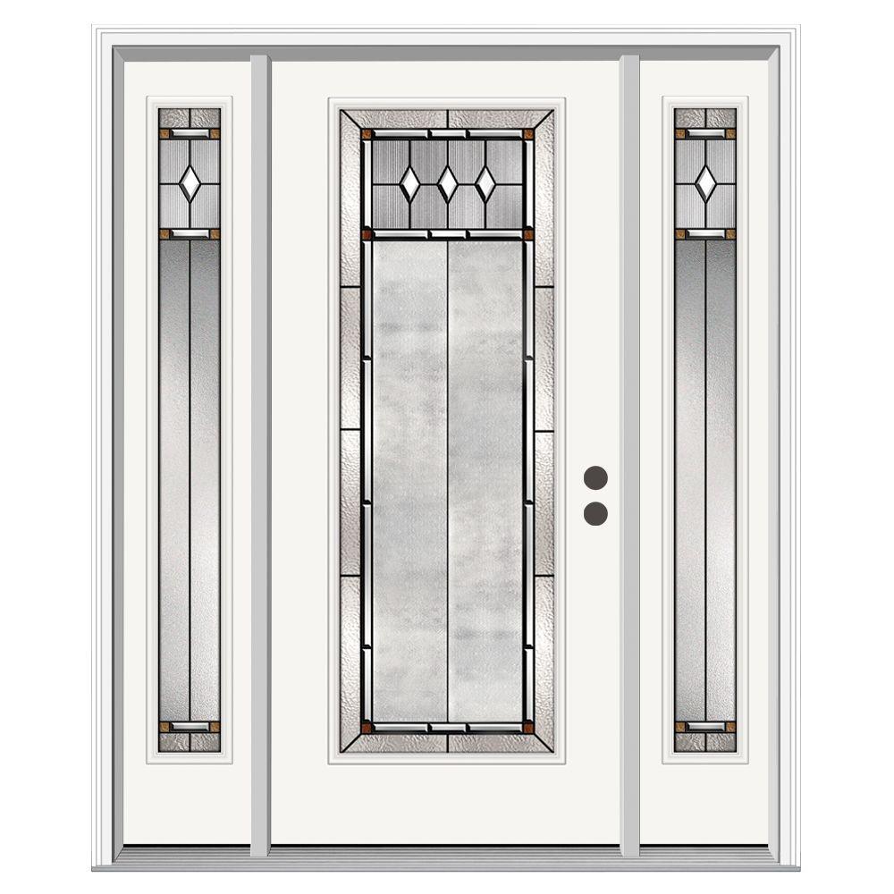 JELD-WEN 66 in. x 80 in. Full Lite Mission Prairie Primed Steel Prehung Left-Hand Inswing Front Door with Sidelites