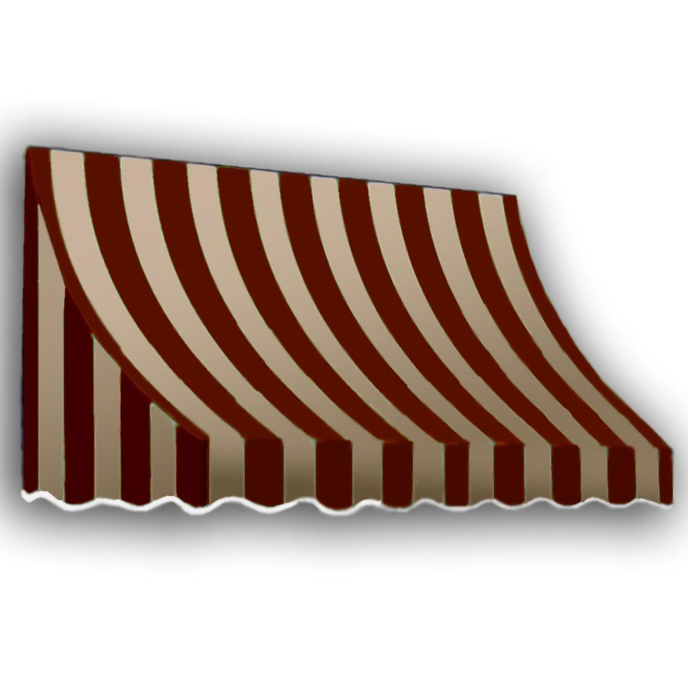 AWNTECH 12 ft. Nantucket Window/Entry Awning (31 in. H x 24 in. D) in Burgundy/Tan Stripe