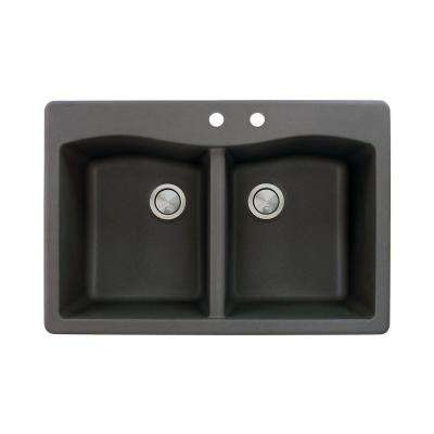 Aversa Drop-in Granite 33 in. 2-Hole Equal Double Bowl Kitchen Sink in Black