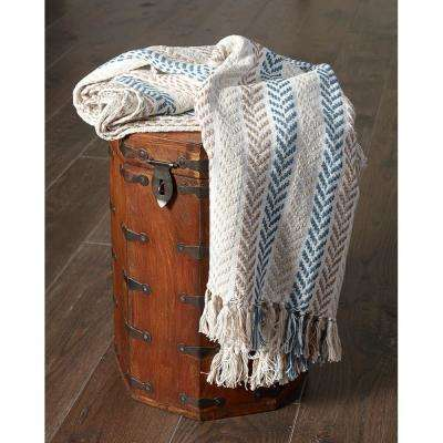4 ft. 2 in. x 5 ft. Blue/Brown Cotton Throw