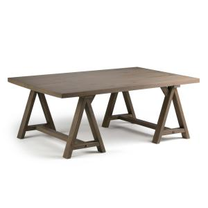 Simpli Home Sawhorse Distressed Grey Coffee TableAXCSAWGR - Charming vintage diy sawhorse coffee table