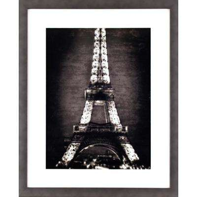 21.5 in. x 17.5 in. Black and White Eiffel Tower Printed Framed Wall Art