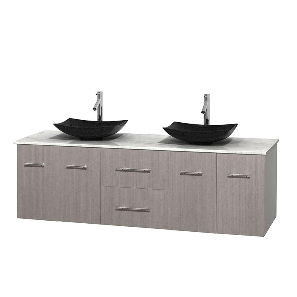 Wyndham Collection Centra 72 In Double Vanity In Gray Oak With