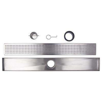 30 in. Stainless Steel Linear Shower Drain - Square Hole Pattern with Hair Strainer and Height Adjuster