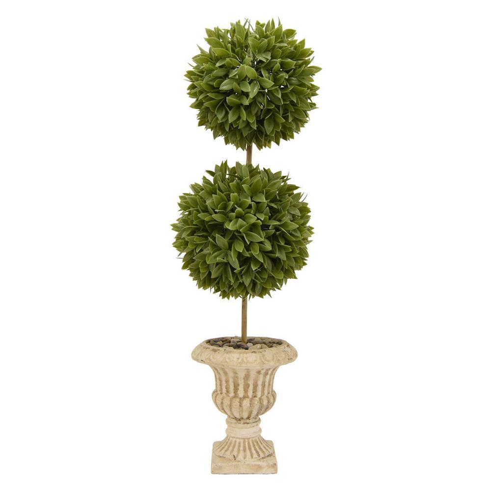 8 in. x 8 in. Faux Topiary Pot in Green