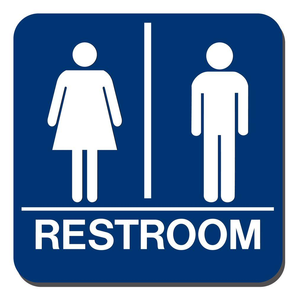 Blue Plastic With Braille Restroom Sign