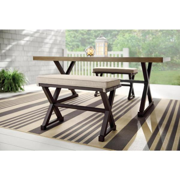 Stylewell Mix And Match Farmhouse 2 Person Steel Outdoor Patio Bench With Tan Cushion 1152c Ch The Home Depot