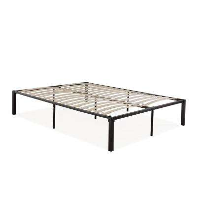 Quick Assembly Twin Black Metal Bed Frame with Wood Slats