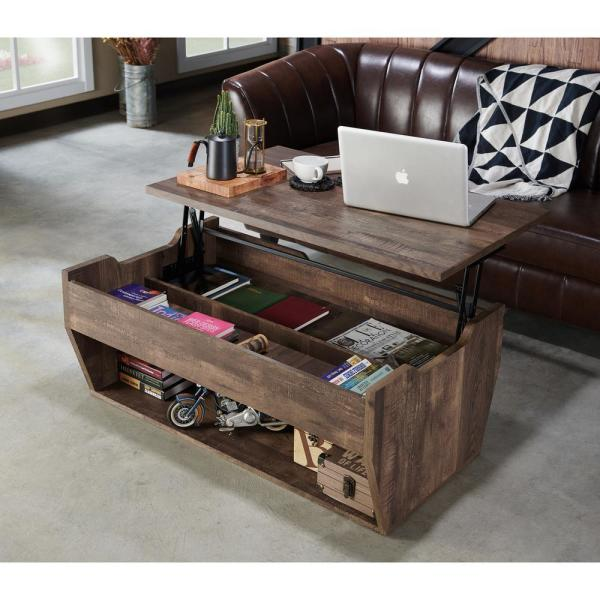 Furniture Of America Anthem 42 In Reclaimed Oak Large Rectangle Wood Coffee Table With Lift Top Ynj 1891c25 The Home Depot