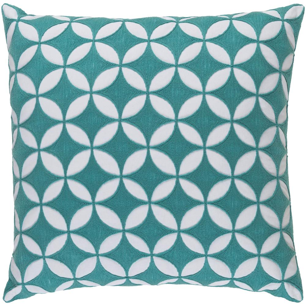 Bulstrode Teal Geometric Polyester 20 in. x 20 in. Throw Pillow