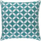 Bulstrode Teal Geometric Polyester 22 in. x 22 in. Throw Pillow