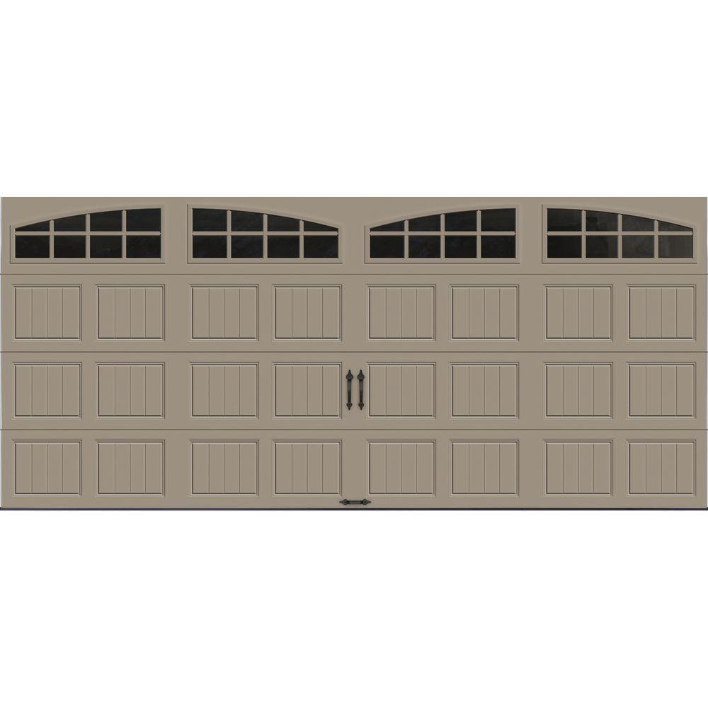 Clopay Gallery Collection 16 ft. x 7 ft. 18.4 R-Value Intellicore Insulated Sandtone Garage Door with Arch Window