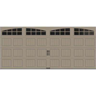 Gallery Collection 16 ft. x 7 ft. 18.4 R-Value Intellicore Insulated Sandtone Garage Door with Arch Window