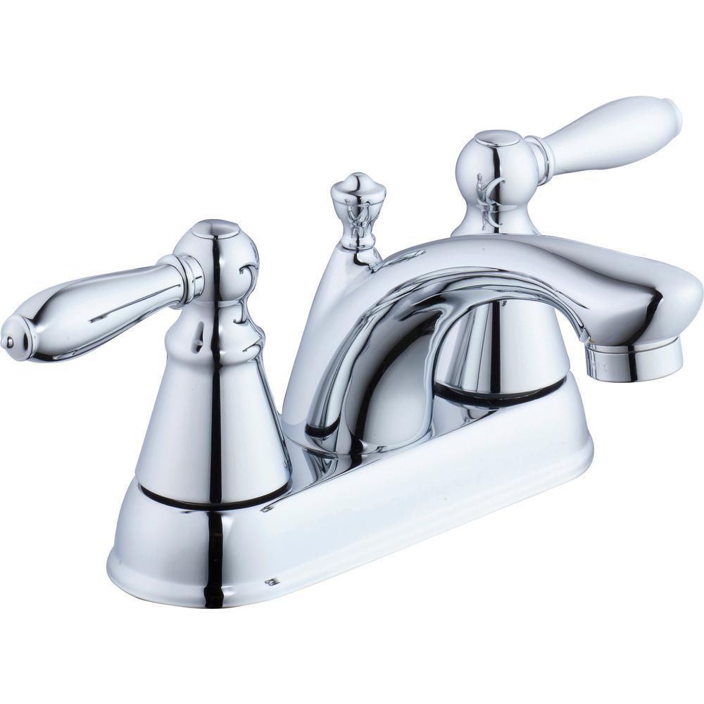 Glacier Bay Adley 4 in. Centerset 2-Handle Low-Arc Bathroom Faucet in Chrome