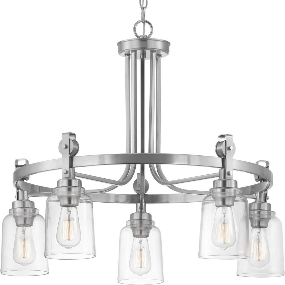 Home Decorators Collection Knollwood 5-Light Brushed Nickel Chandelier with Clear Glass Shades