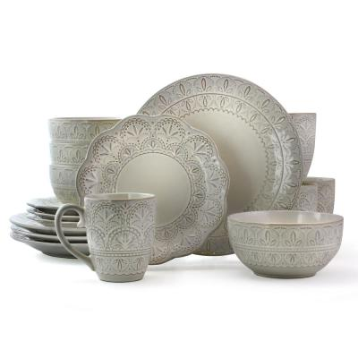 White Lace 16-Piece White Scallop Stoneware Dinnerware Set (Service for 4)