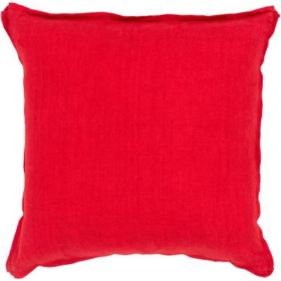 Zevgari Red Solid Polyester 22 in. x 22 in. Throw Pillow