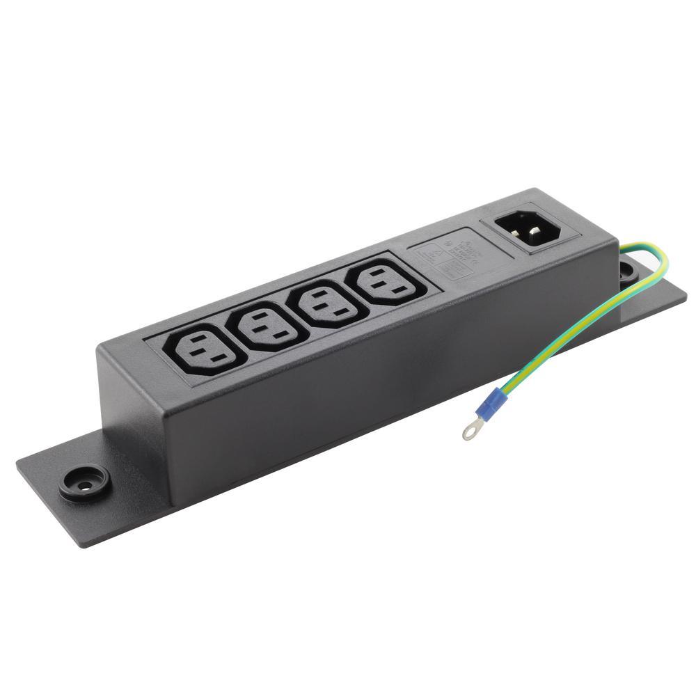IEC IT/Server/PDU Power Strip IEC C14 Inlet to (4) IEC C13 (Sheet F) with Grounding