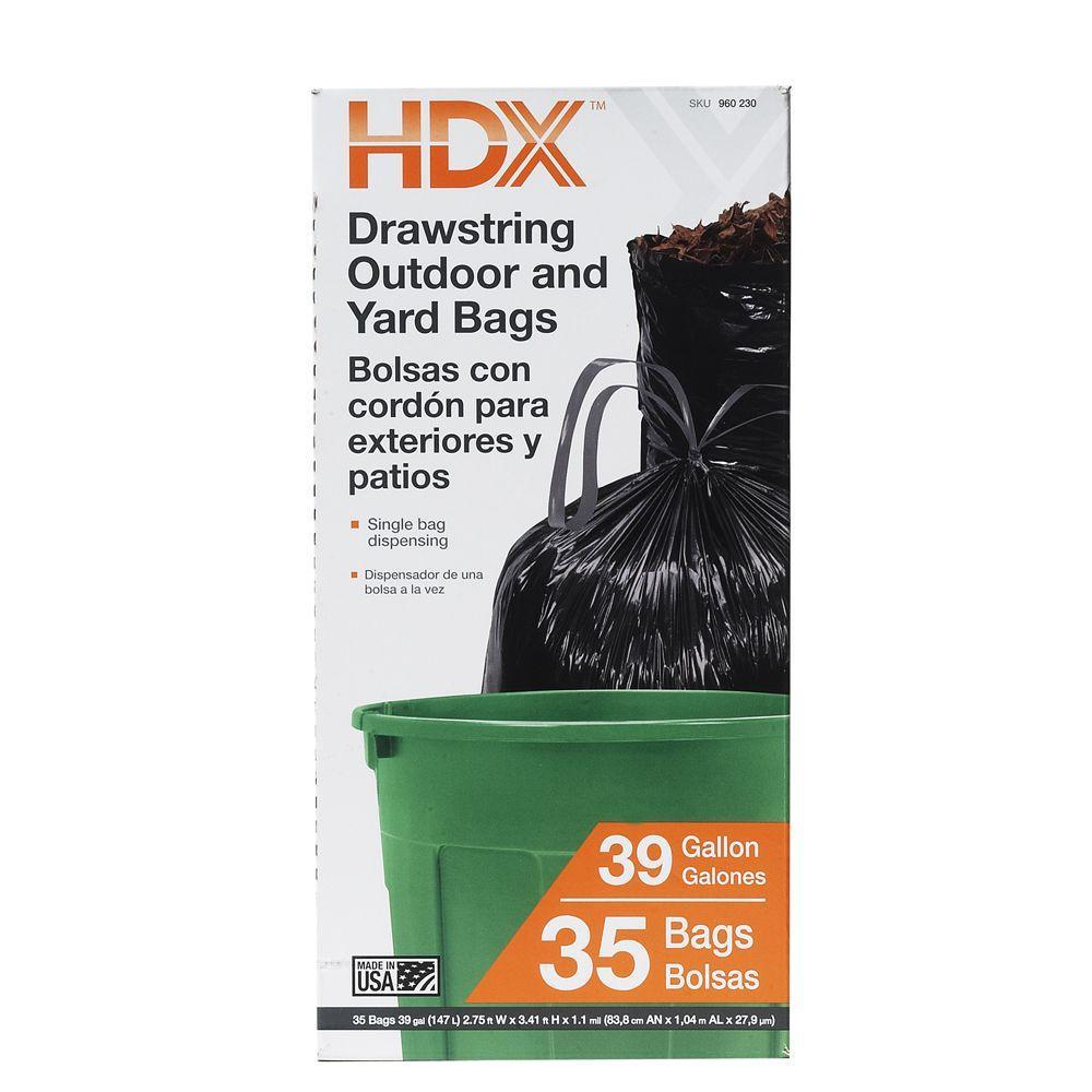 Outdoor/Yard 39 Gal. Drawstring Black Trash Bags (35 Count)