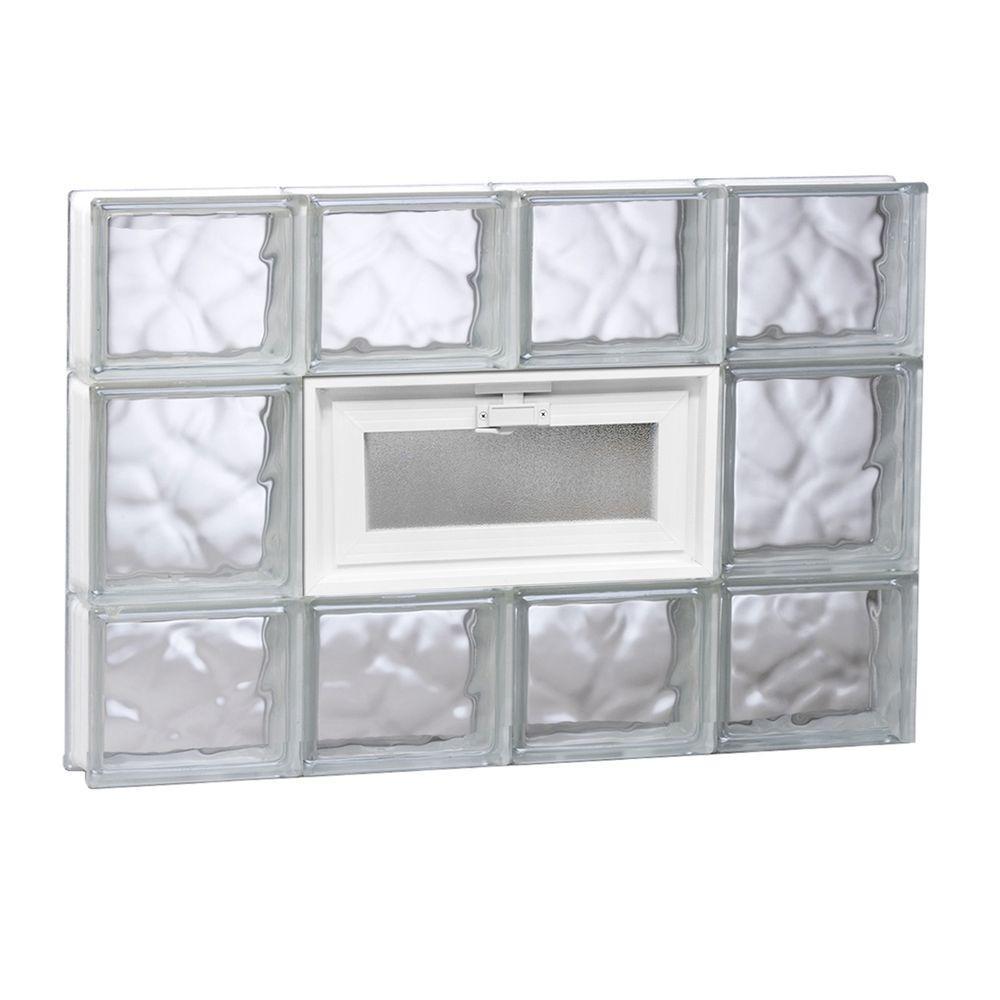 31 in. x 19.25 in. x 3.125 in. Frameless Wave Pattern Vented Glass Block Window